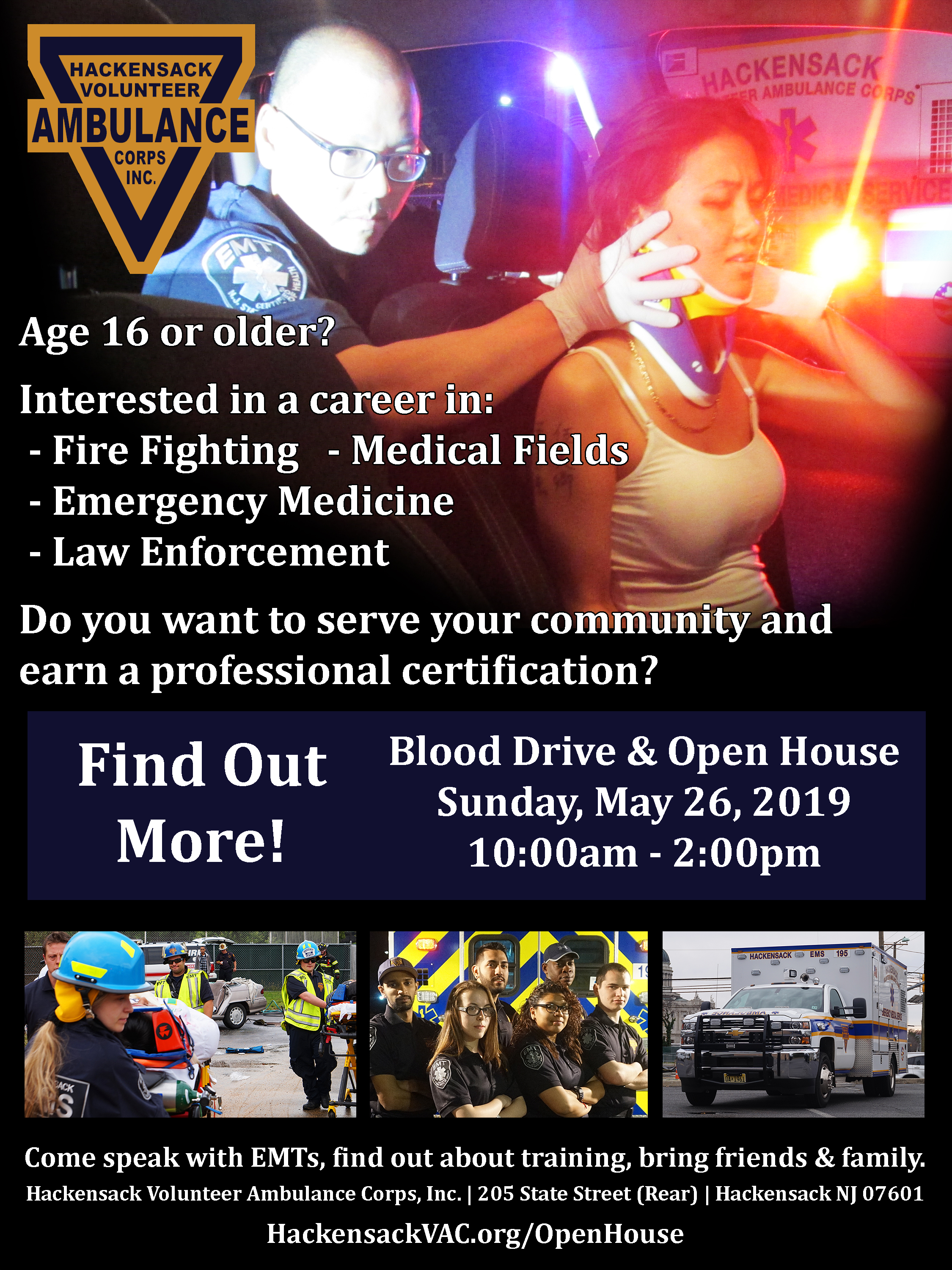 Hackensack Volunteer Ambulance Corps Open House and Blood Drive Sunday, May 26